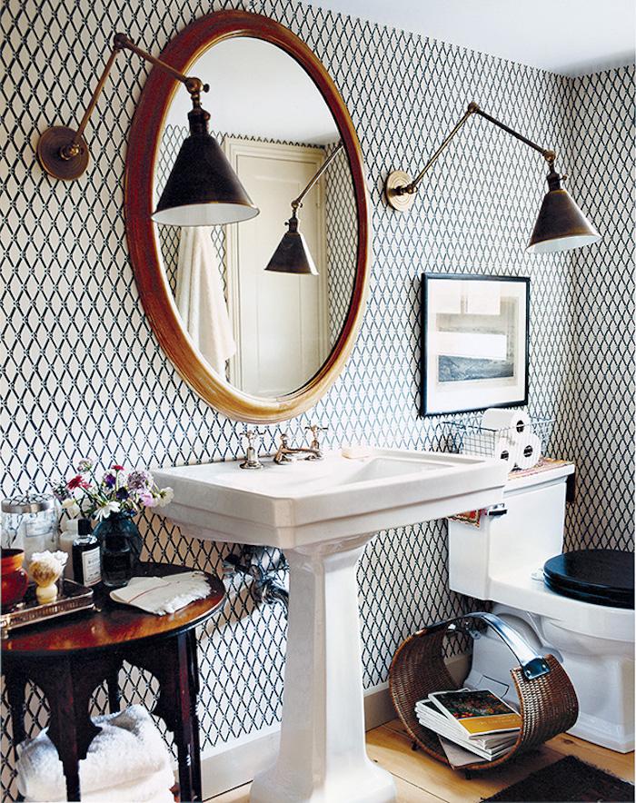 Vintage design sans meuble sous vasque salle de bain, la plus belle salle de bains du monde, ronde miroire, blanc et noir géométrique papier peinte salle de bains