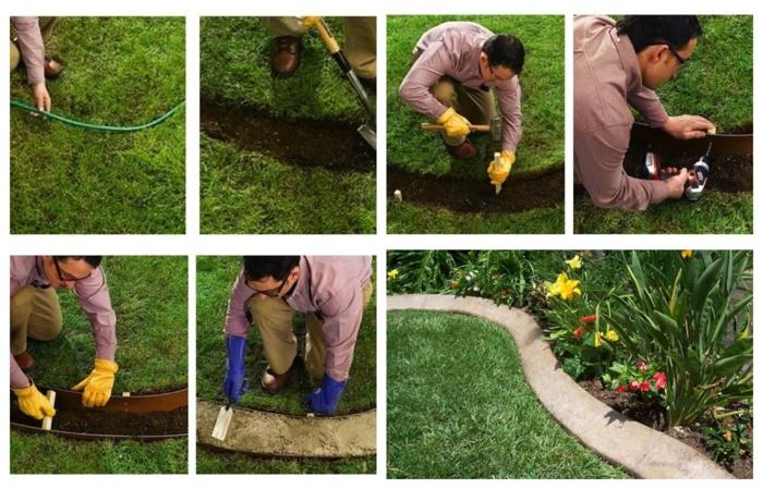 bordure béton, pelouse verte, comment créer une bordure en métal et béton, fleurs élevées en parterre