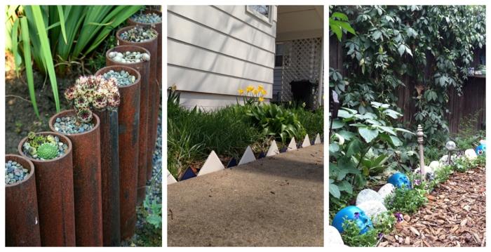 tuyaux métal, bordure ardoise, séparation d allée et parterre, déco jardins modernes