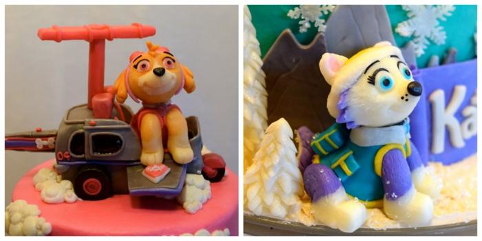 figurines comestibles, Stella et Everest, figurines de gâteau anniversaire enfant, pins et flocons de neige blancs