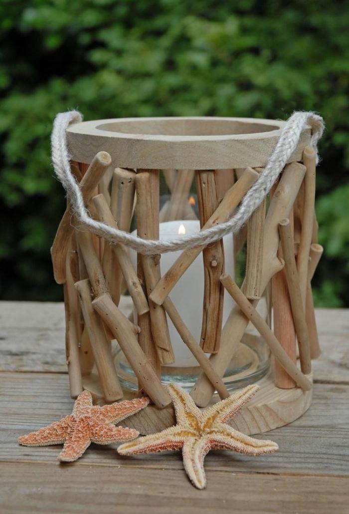 activité manuelle facile pour faire un objet de déco marine, que faire avec le bois flotte, diy lanterne en bois et corde