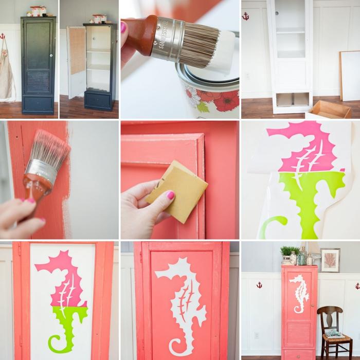pas à pas pour transformer un vieux meuble, idée meuble recup facile, comment décorer une armoire avec peinture corail