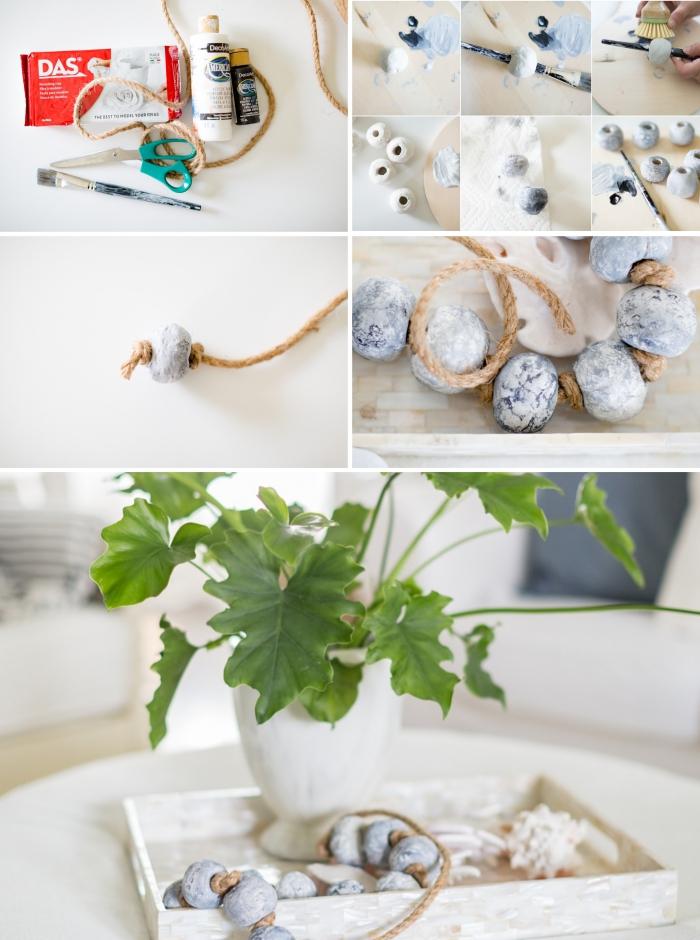 fabrication petit bijou en ficelle et faux cailloux, DIY accessoire pour une décoration marine, activité manuelle été