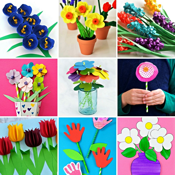 bricolage en papier ou en feutre pour réaliser des fleurs, fabriquer un cadeau pour la fête des mères avec les enfants de l'école maternelle