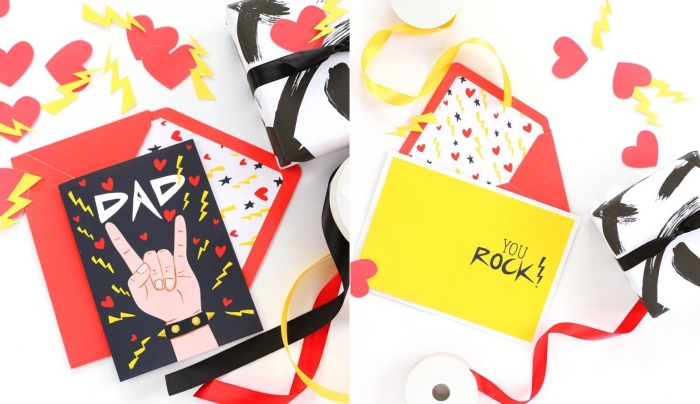 modèles de cartes fête papa à fabriquer soi-même, diy carte avec illustrations à imprimer, activité manuelle fête des pères