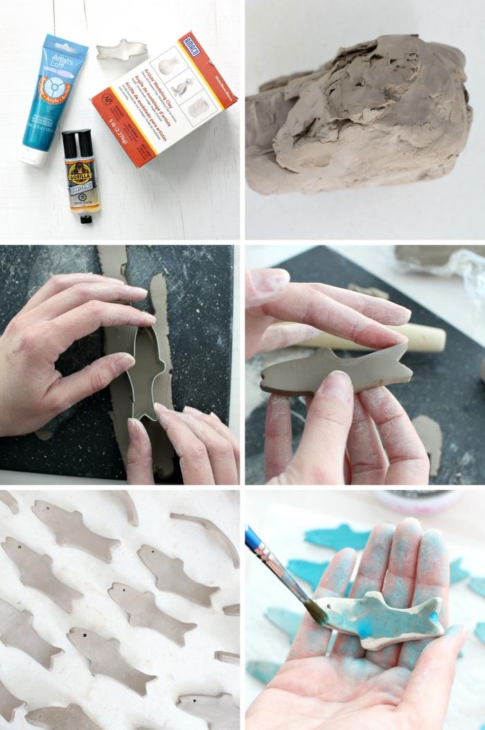 étapes à suivre pour créer un tableau décoratif avec poissons, idée objet DIY sur thème mer, tutoriel facile et rapide
