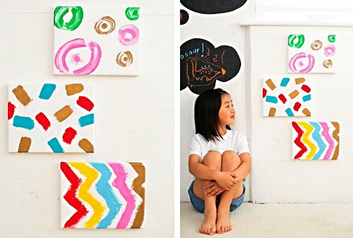 des tableaux d'art abstrait réalisés par les enfants à offrir comme cadeau pour la fête des mères, idée originale de cadeau a faire soi meme