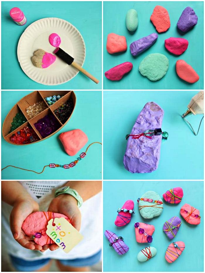 bricolage fête des mères maternelle avec des galets et des cailloux peints, des cailloux peints décorés de bracelets en perles