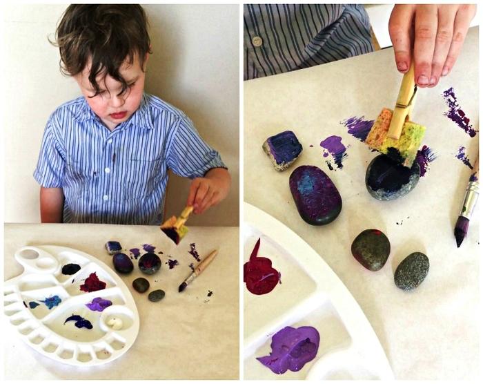 des galets aimantés personnalisés, aux couleurs de la galaxie à réaliser avec les enfants de l'école maternelle, idee fete des peres