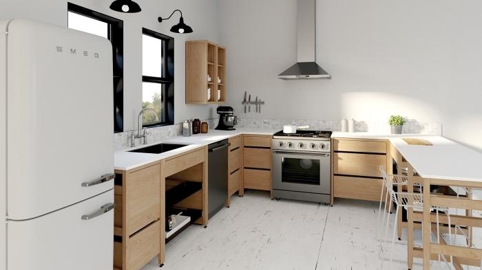 cuisine en u avec ilot, déco de cuisine blanche avec meubles bois et accents noirs, équipement cuisine four et hotte inox
