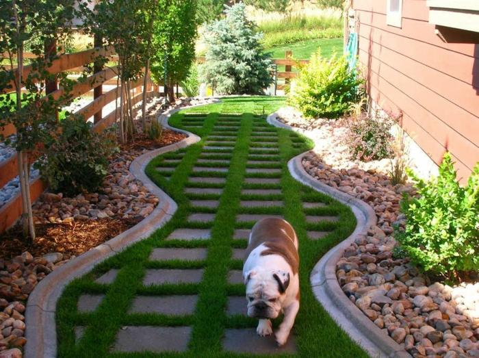 allée et bordures de jardin, aménagement paysager, galet décoratif, cloture en bois, petites buissons