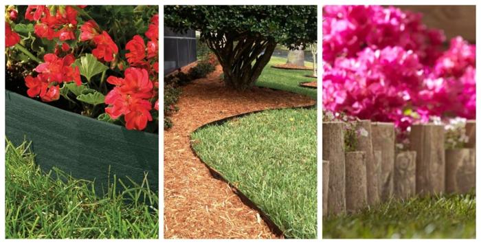 allée de jardin en paillis, troncs de bois de différentes tailles, pelouse verte, fleurs roses et rouges