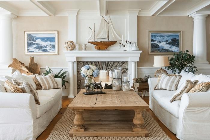 exemple agencement salon avec cheminée, comment décorer intérieur avec meuble bois flotté dans l'esprit marin