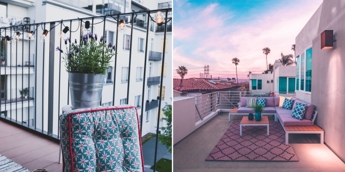 comment décorer son balcon, organiser un barbecue sur une terrasse ou balcon, déco avec coussins et tapis extérieurs