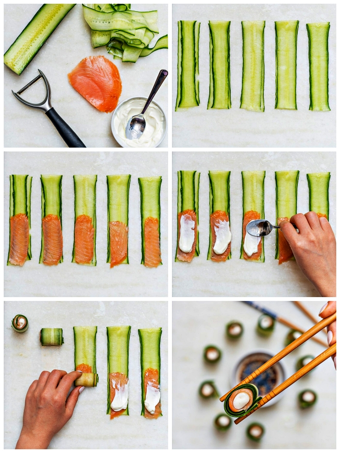 tuto pas à pas pour faire des rouleaux de concombre au saumon fumé et au fromage à la crème façon sushi, recette apéritif dinatoire simple et originale