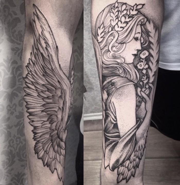 femme ange tatouée sur le bras, idée femme ange aux ailes et une couronne de branches d arbre