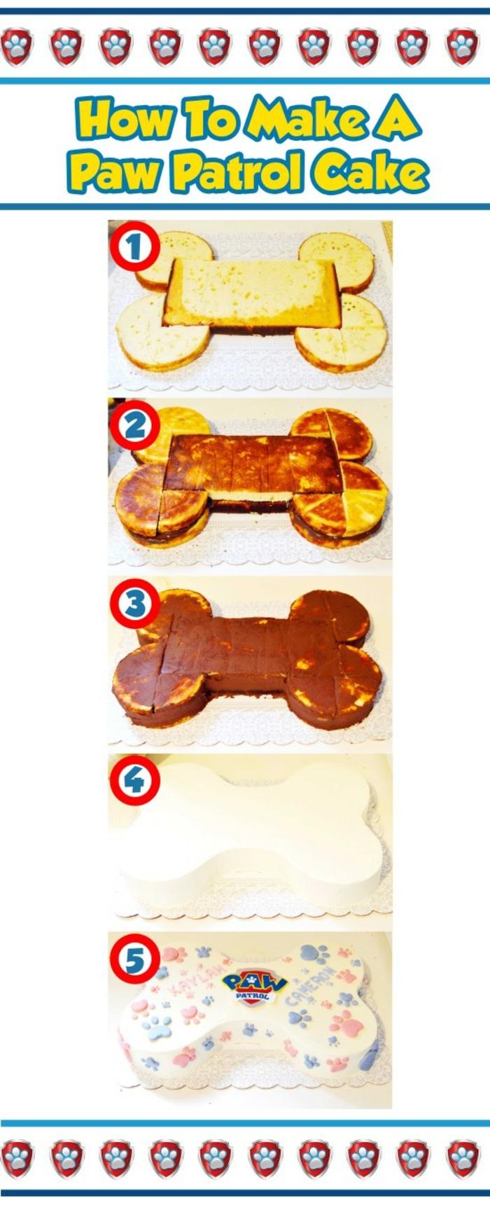 variante astucieuse pour faire un gâteau pat patrouille en form d'os et au glaçage chocolat