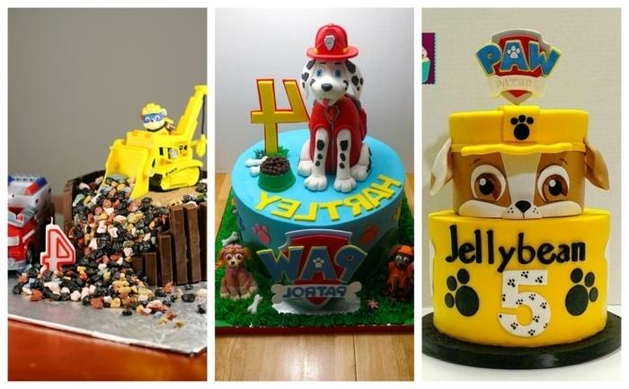 déco anniversaire pat patrouille, gâteau chien jaune, gâteau avec dalmatien et nom de l'enfant, excavatrice jaune