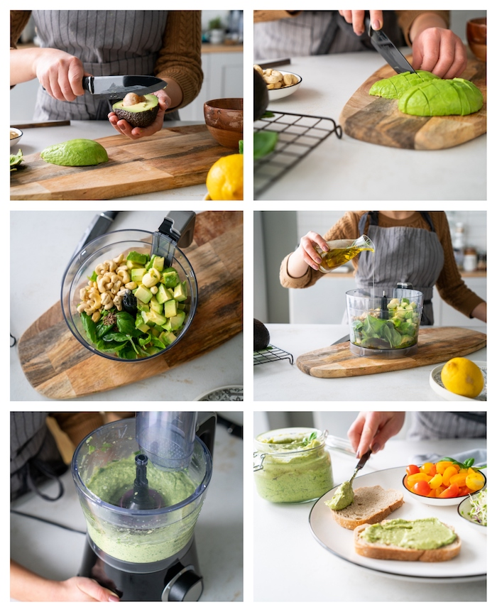 idee de recette apero facile sans cuisson, pesto vert au basilic et avocat, recette toast apero simple