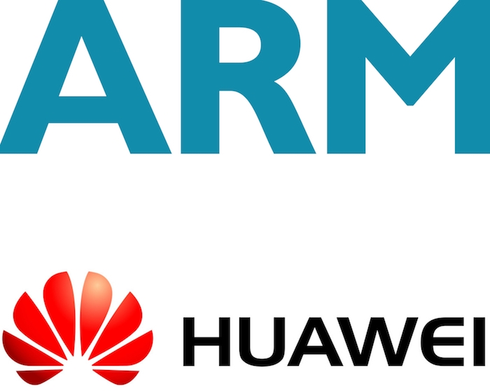 logos ARM technology et Huawei dont le partenariat financier et technologique s'arrête brutalement