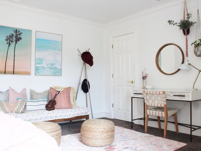 design intérieur style bohème chic avec accessoires de plage, idée déco marine dans une pièce blanche avec accessoire paille