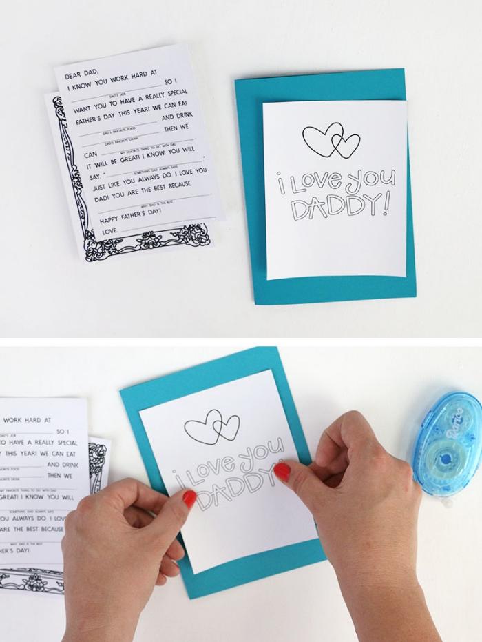 idée carte originale et facile à faire soi-même, carte fete des peres en feuille bleue avec message je t'aime papa imprimé