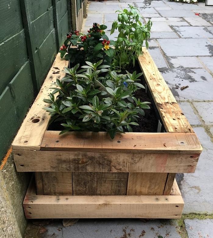 bac à fleurs et arbustes plantés dans un bac en bois, que faire avec des palettes, amenagement jardin