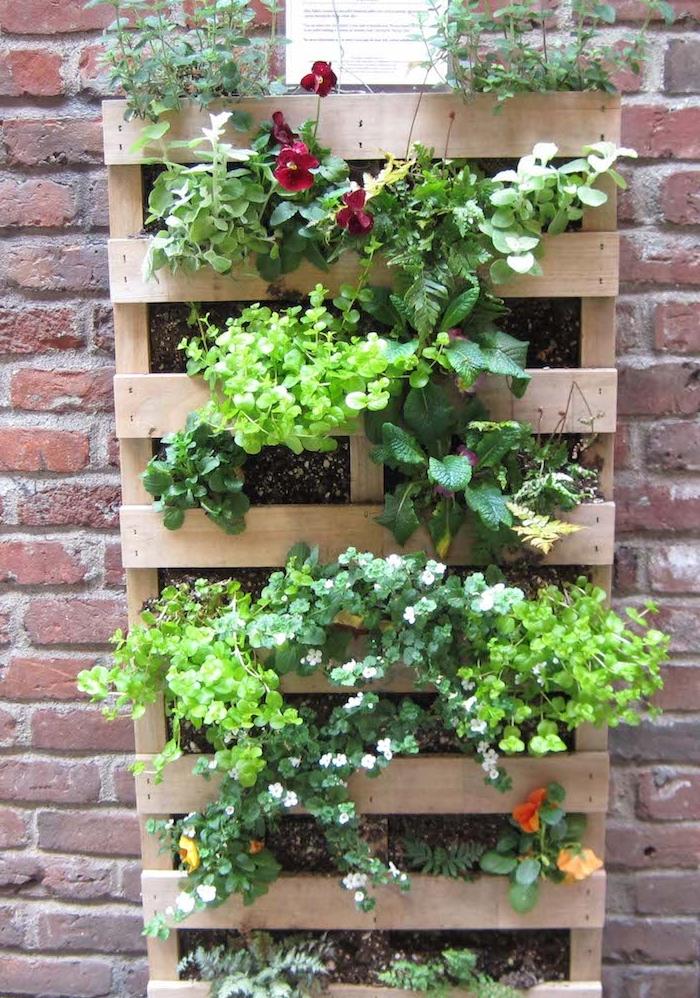 jardinière en palette originale en bois avec terreau et plantes vertes et fleurs plantées à l intérieur