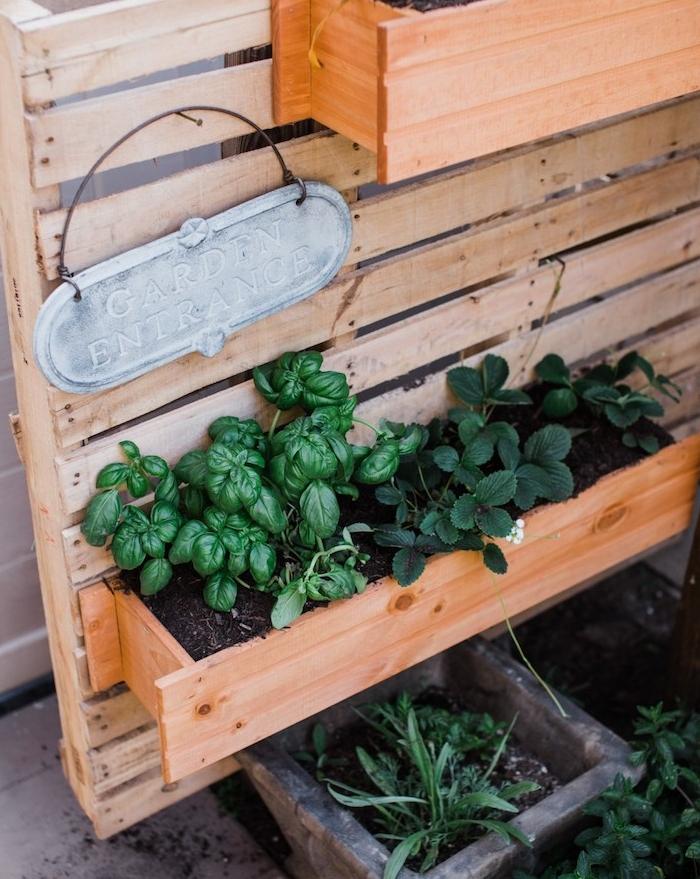 bacs à fleurs en bois montés sur une palette de bois, planches de bois assemblées pour en faire un mur végétal