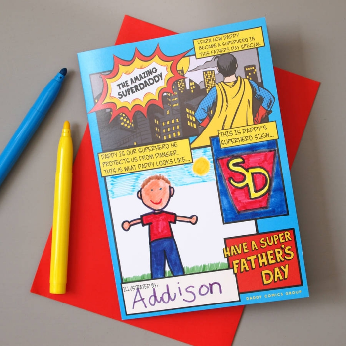 cadeau fete des peres a fabriquer, idée bricolage fête des pères, modèle bande dessinée maternelle à faire soi-même