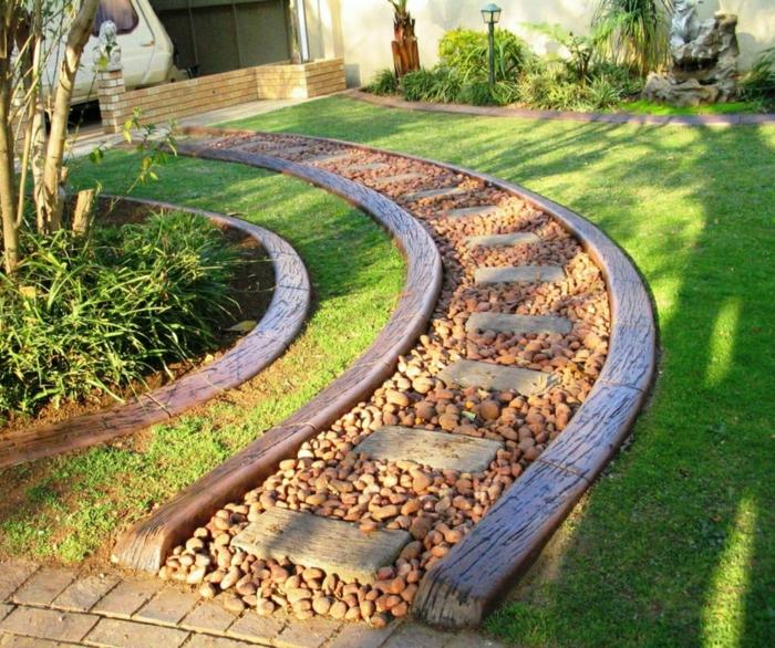 bordure de jardin, gravier pour allée, pelouse verte, jardin paysager, parterres plantes vertes et buissons