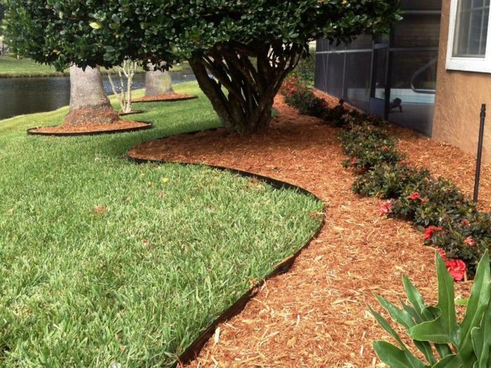 joli design de bordure, amenagement jardin paysager, arbre, parterre ondulant, fleurs plantées et paillis de jardin
