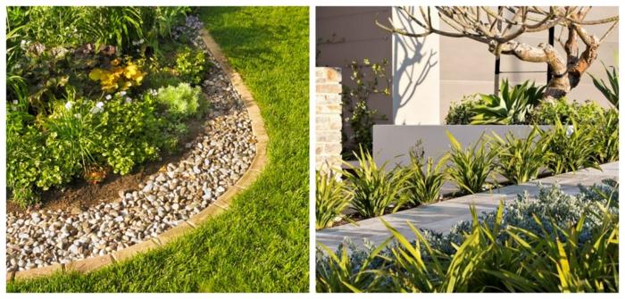 deux variantes de bordures de jardin, bordure jardin pierre, bordure béton, fleurs et plantes herbacées