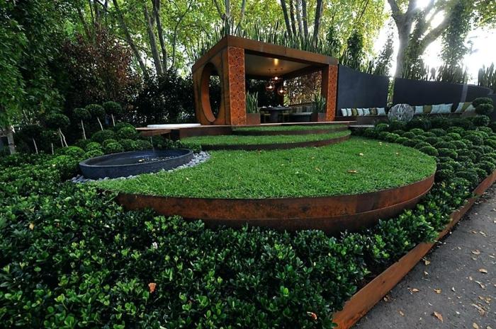 bordure jardin metal, grand parterre, plantes tapissantes, construction moderne, allée