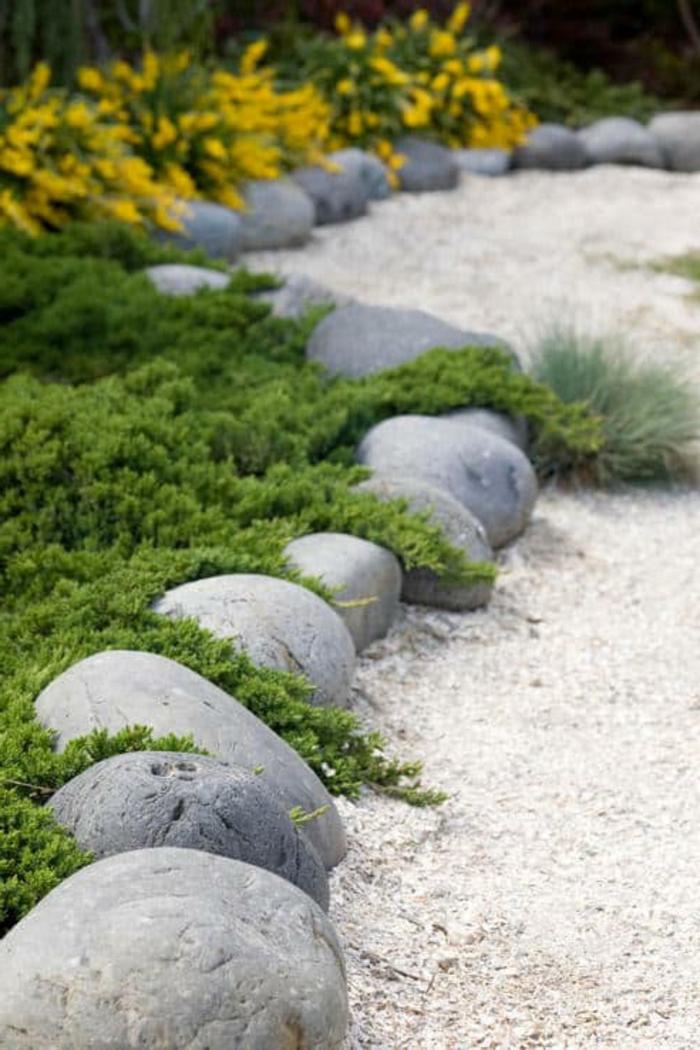 bordure de pierres blanches, allée de jardin en gravier, plantes tapissantes à floraison jaune