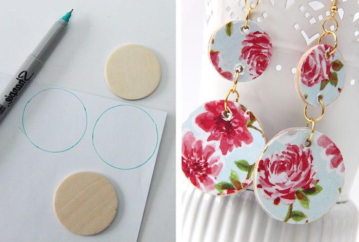 cadeau maitresse diy facile a faire, boucles d oreille a faire soi meme en cercles de carton décorés à serviette à motifs floraux