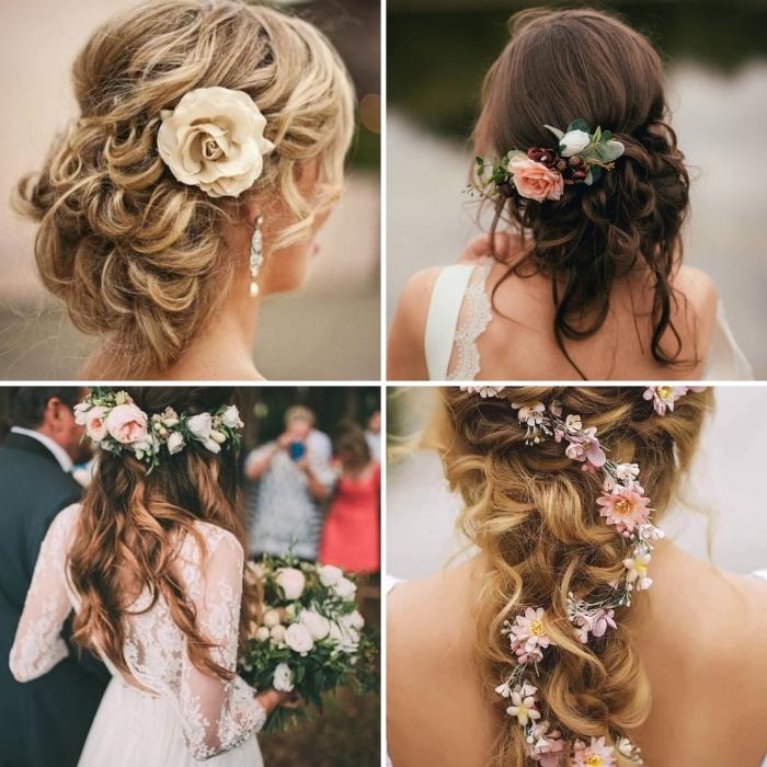 idées de coiffure simple a faire pour mariée, chignon mariage flou avec boucles et accessoire, idée coiffure cheveux lâchés pour mariage