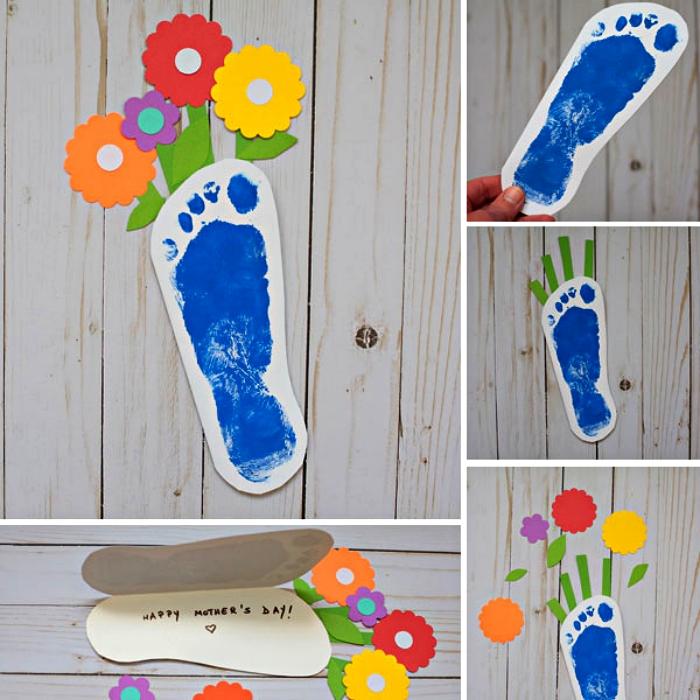 petit bricolage en papier pour réaliser une carte de fête des mères en empreinte de pied, bricolage facile fête des mères maternelle