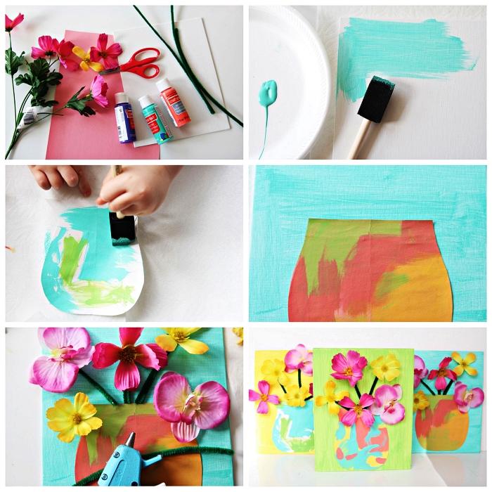tutoriel facile pour réaliser une carte fête des mères maternelle avec vase et fleurs en 3d, idée d'art facile pour les enfants à l'occasion de la fête des mères