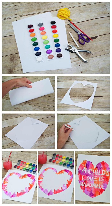 tuto pas à pas pour réaliser un mini-tableau d'art avec coeur à l'aquarelle et message personnalisé avec lequel souhaiter bonne fête des mères