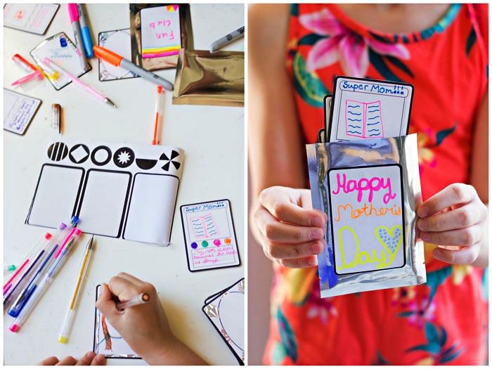 idée de petit bricolage en papier pour la fête des mères, mini-carte de voeux à imprimer et à personnaliser