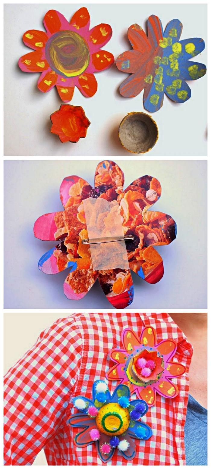 idée d'activité manuelle fete des meres pour les tout petits, fabriquer un badge fleur spécial fête des mères à partir d'une boîte d'oeufs récup