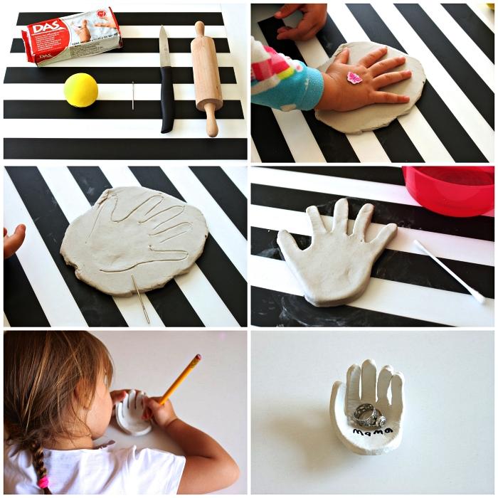 tuto pas à pas pour faire une coupelle porte-bijou en empreinte de main, idée cadeau maman à fabriquer soi-même