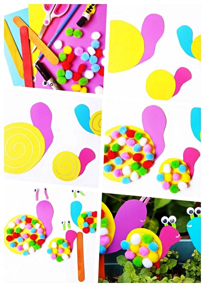 bricolage de décoration de pot de fleur et jardinière, cadeau fête des mères à fabriquer avec les tout petits, petit escargot en papier et pompons à piquer dans une jardinière