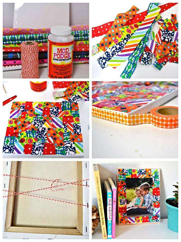 bricolage fete des peres cadeau fait-maison à fabriquer avec les enfants de la maternelle, cadre photo personnalisé avec des bouts de papier imprimé