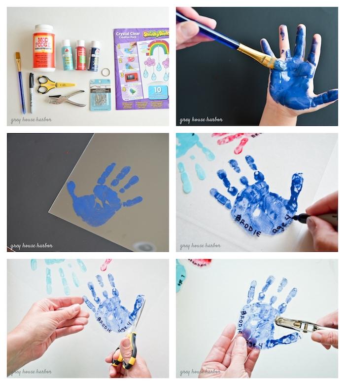 bricolage fête des pères pour tout petit empreinte de main sur feuille plastique avec un trou percé pour créer un porte clé fete des peres