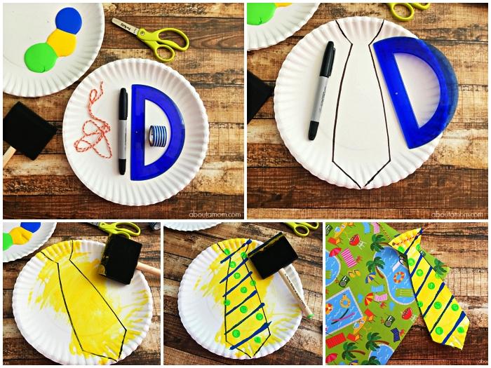 fabriquer un cadeau fête des pères en maternelle, bricolage pour les plus petits, une cravate découpée dans une assiette en carton