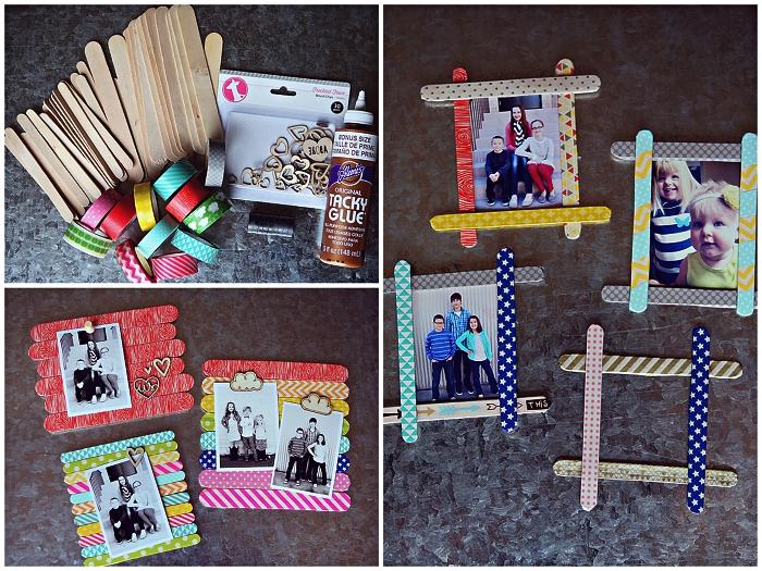 idée cadeau anniversaire maman à fabriquer avec les tout petits, des cadres-photos en bâtonnets de bois recouverts de masking tape