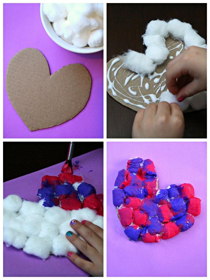 bricolage de cadeau fête des mères maternelle, petit coeur en carton et en coton peint en bleu et rose