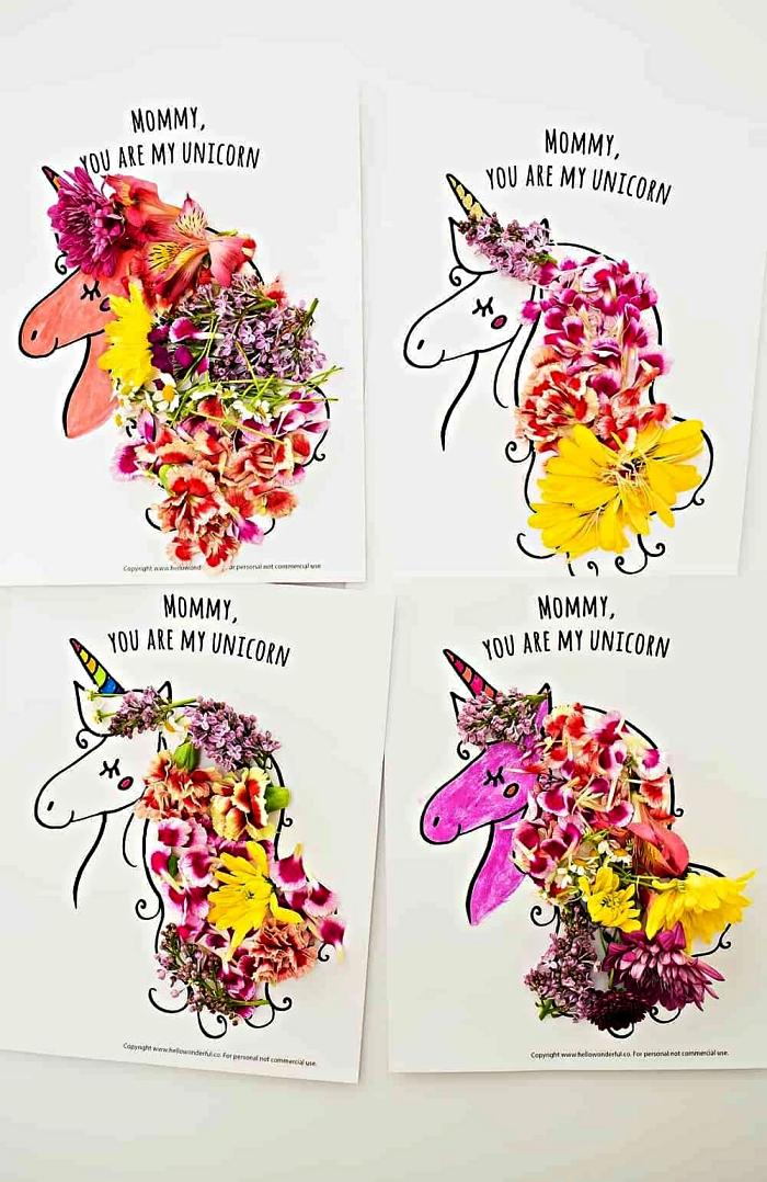 une carte de fête des mères licorne à imprimer et à décorer avec des pétales de fleurs, bricolage en papier spécial fête des mères